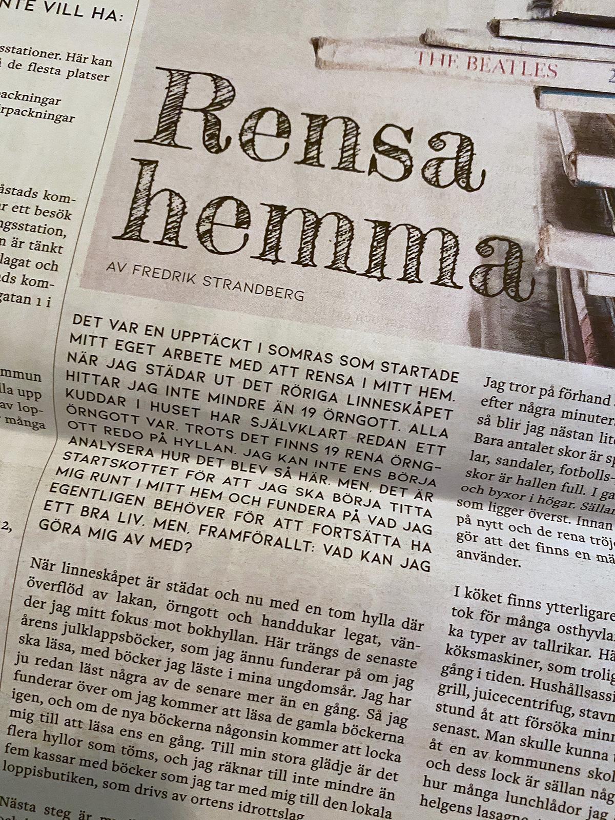 Tidningsdesign och artikelförfattare BjäreNU, 2019 - Fredrik Strandberg